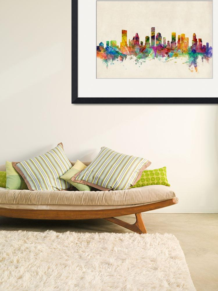 """Houston Texas Skyline&quot  (2013) by ModernArtPrints"