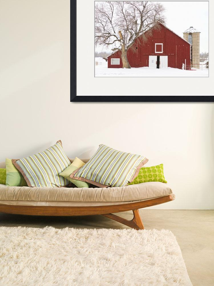 """Red Barn Winter Country Landscape&quot  (2012) by lightningman"