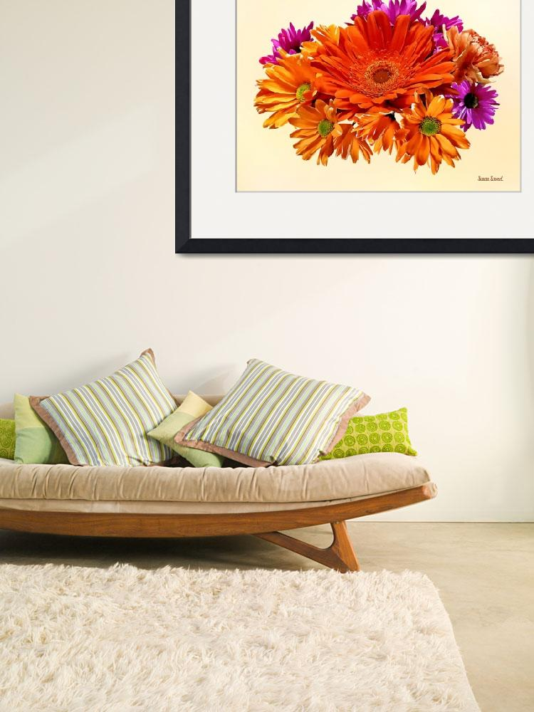 """Mixed Bouquet With Gerbera Daisy and Mums&quot  by susansartgallery"