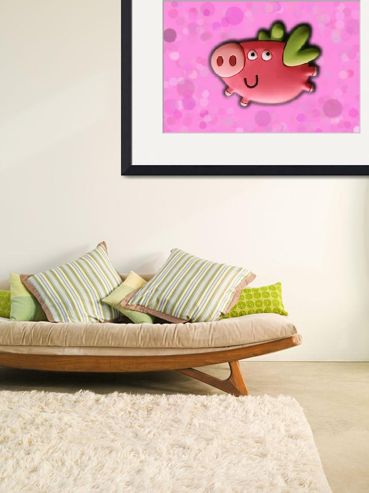"""Toy pig on pink background&quot  (2011) by Kybdica"