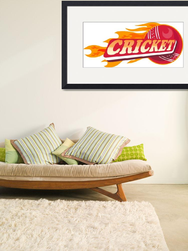 """cricket sports ball flames&quot  (2013) by patrimonio"