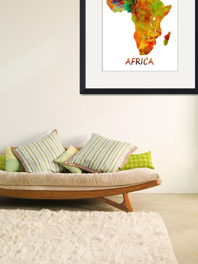 """Africa map watercolor&quot  (2015) by JBJart"