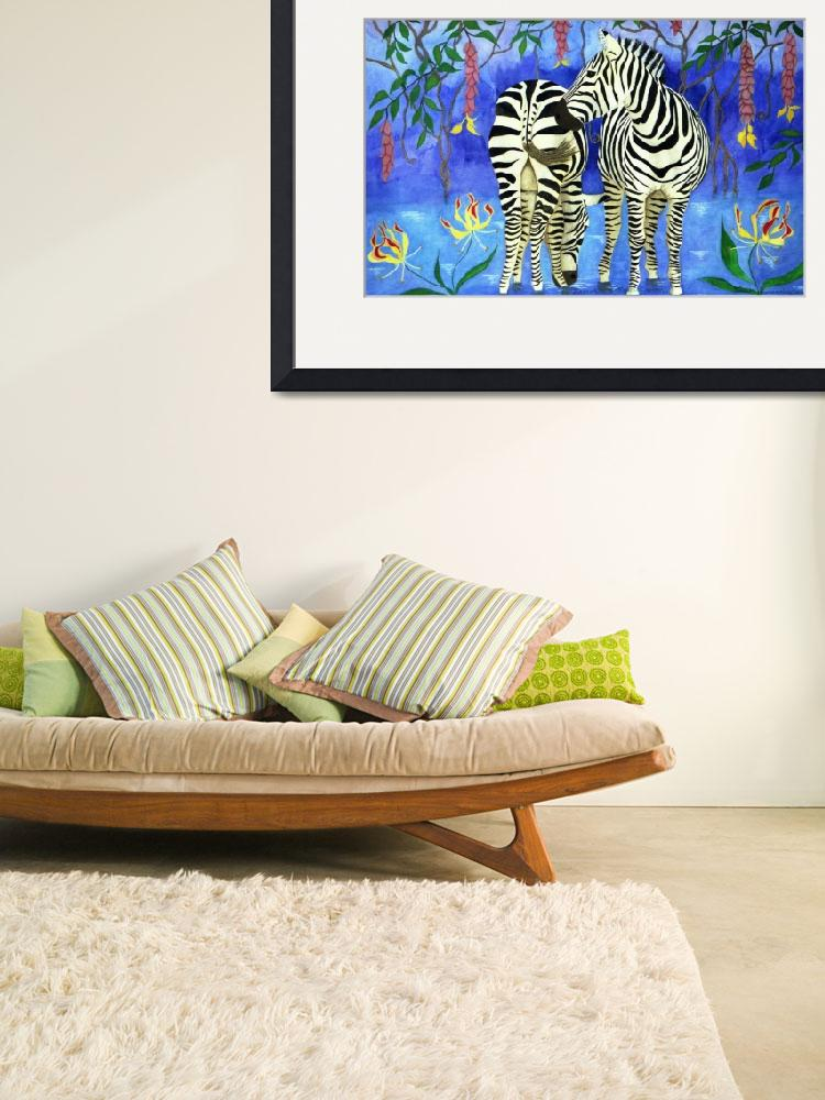 """Zebras in a Tropical Garden&quot  (2000) by oenonehammersley"