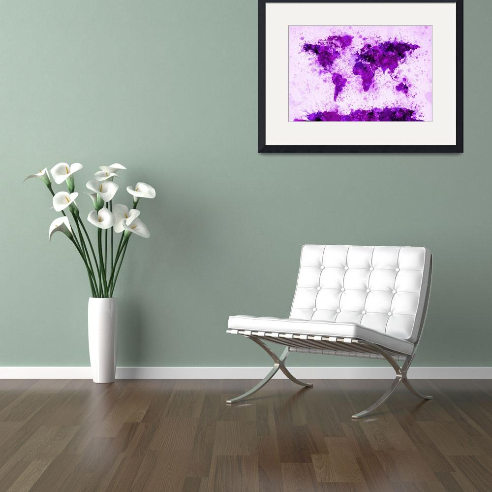 """World Map Paint Splashes Purple&quot  (2011) by ModernArtPrints"