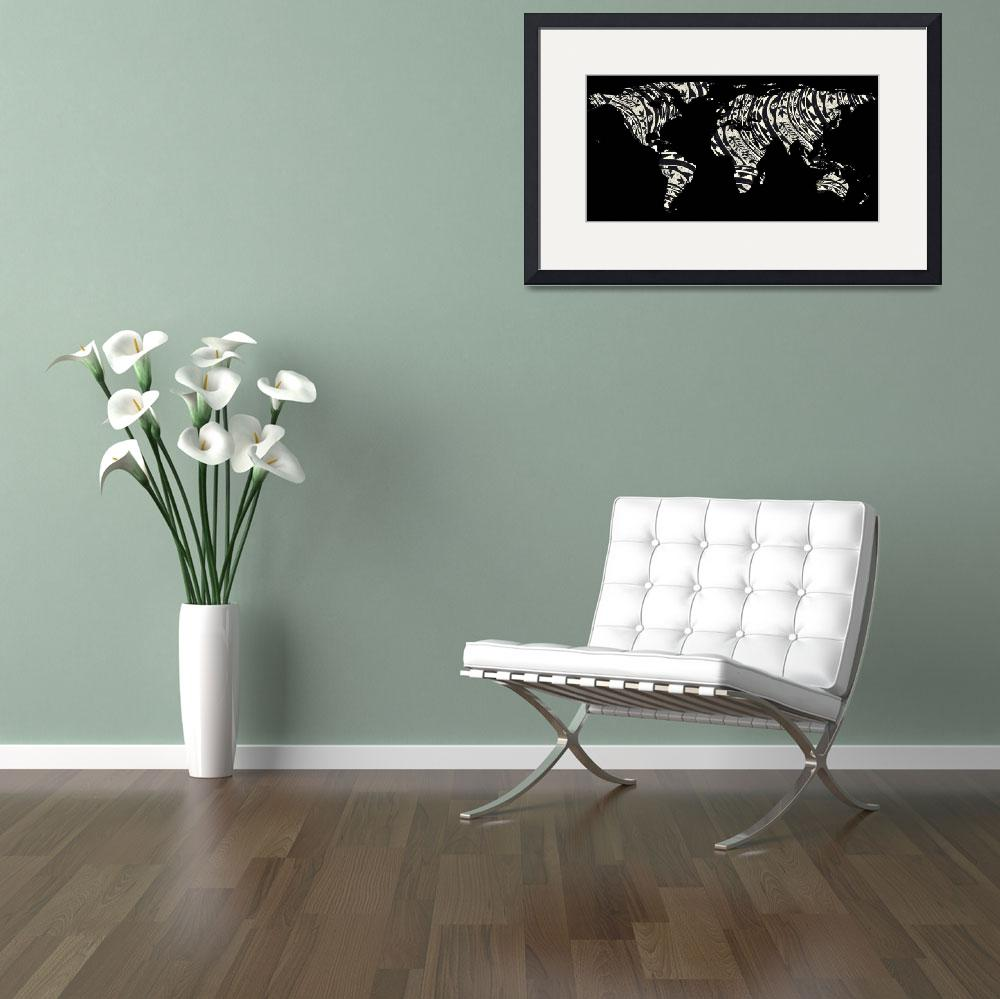 """World Map Silhouette - Patterned Mandala 04&quot  by Alleycatshirts"