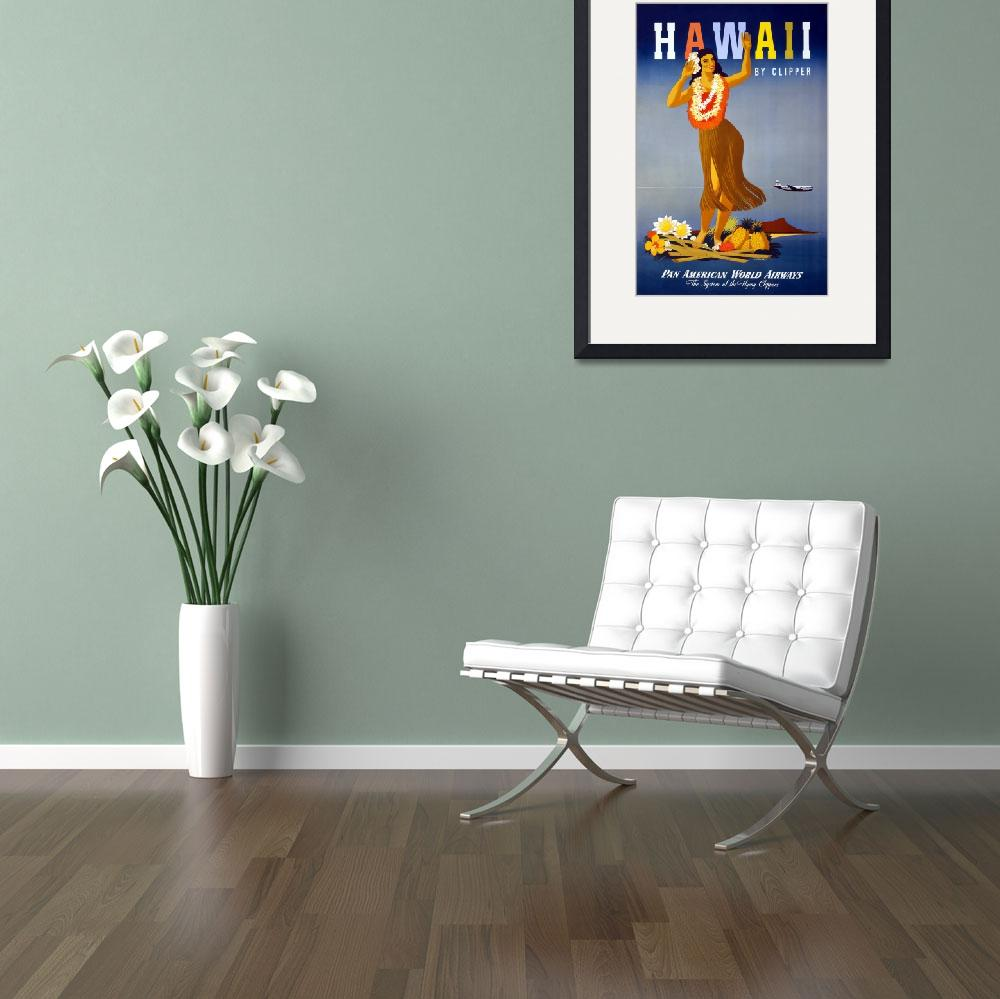 """Hawaii By Clipper Pan Am Travel Poster&quot  by dalidayna"