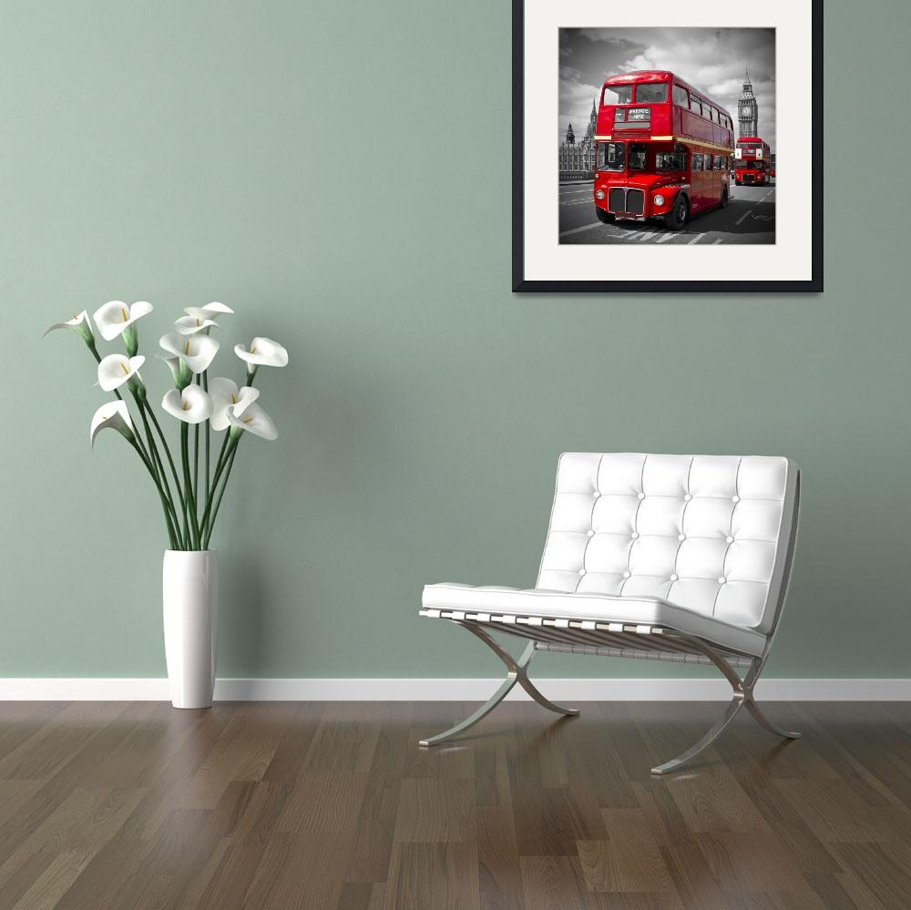 """London Red Buses&quot  (2014) by MelanieViola"