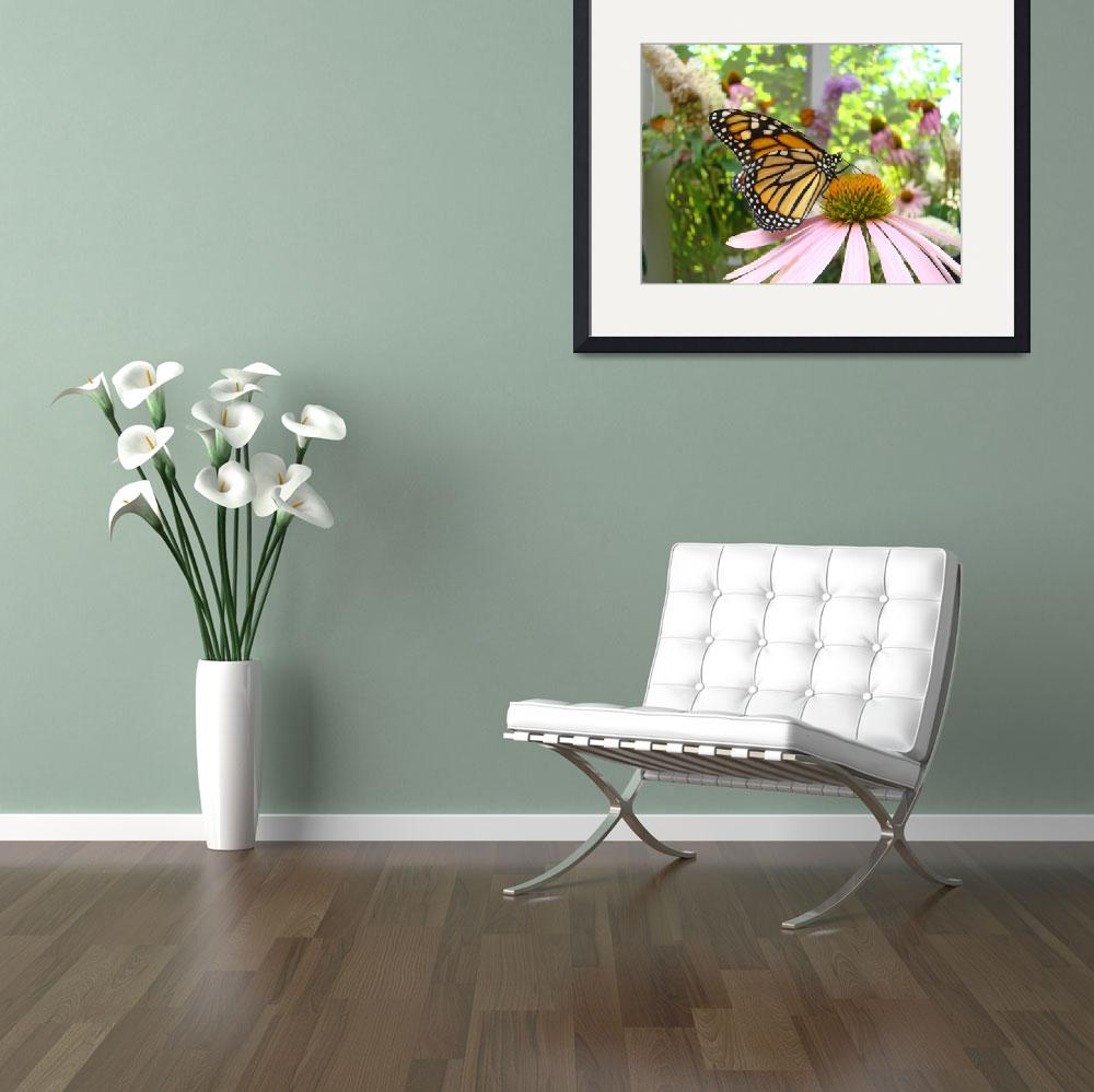 """Monarch Butterfly Art Prints Pink Cone Flower&quot  (2014) by BasleeTroutman"