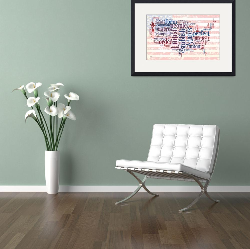 """US Word Cloud Map - Preamble&quot  by WrightFineArt"