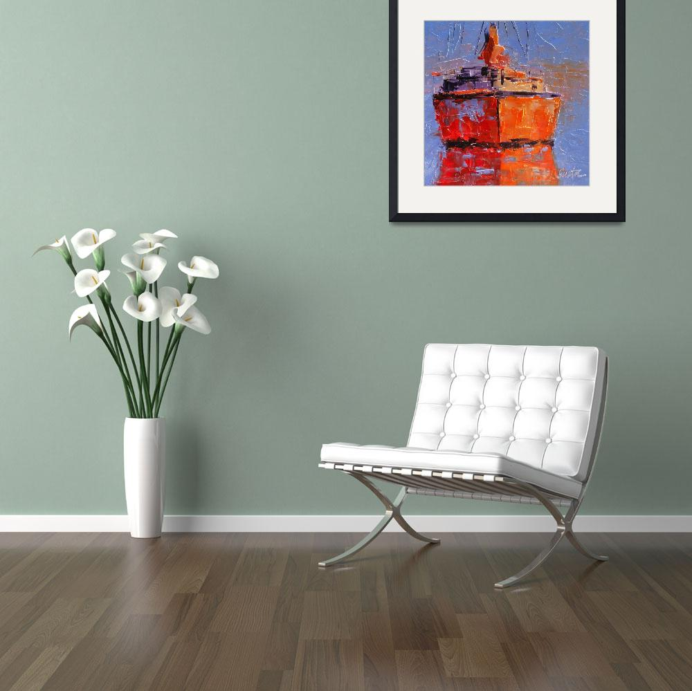 """Reflections on the Orange Boat&quot  (2011) by LeslieSaetaFineArt"