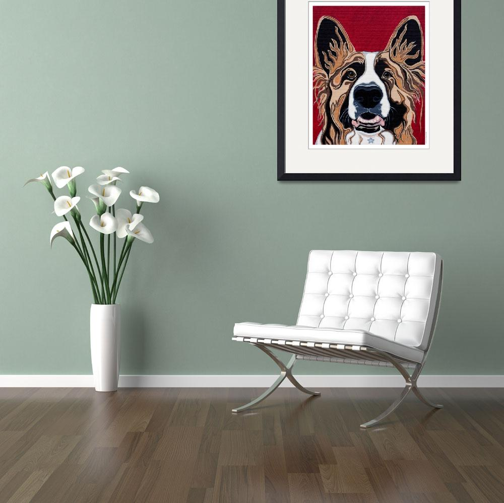 """Elmo the Shepherd Collie mix portrait&quot  (2008) by VeganMe"