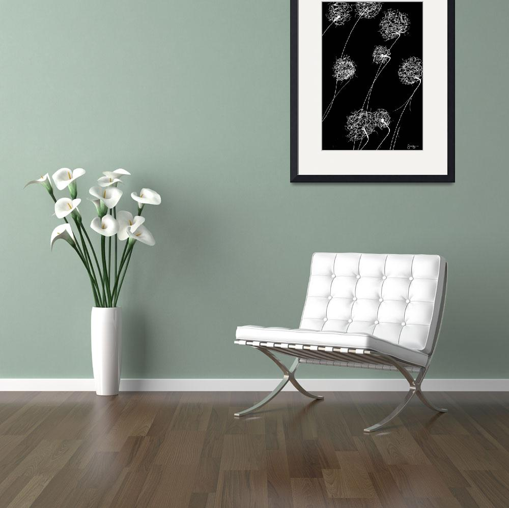 """Simple Flowers#2-White on Black&quot  (2012) by joegemignani"