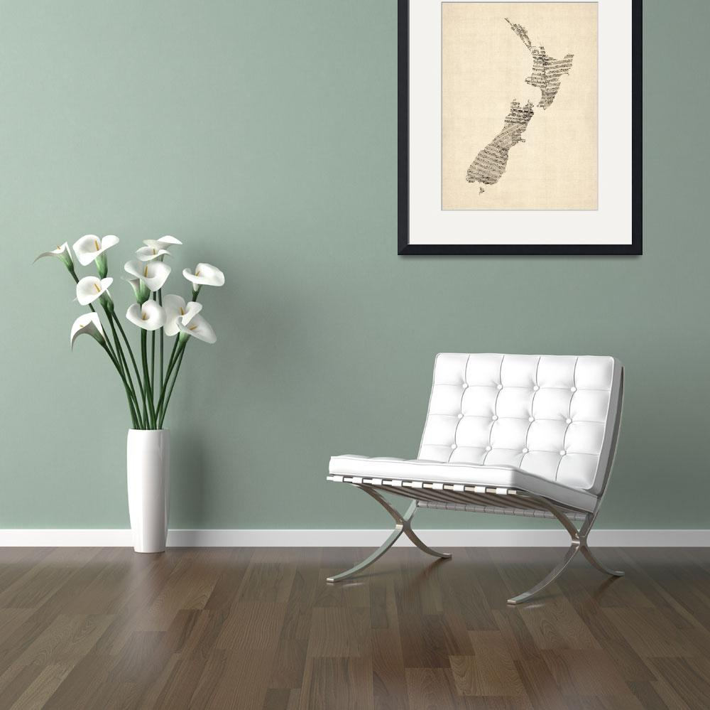 """Old Sheet Music Map of New Zealand Map&quot  (2015) by ModernArtPrints"