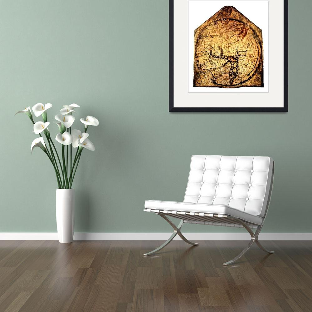 """Hereford Mappa Mundi Medium White Border&quot  (2014) by TheNorthernTerritory"