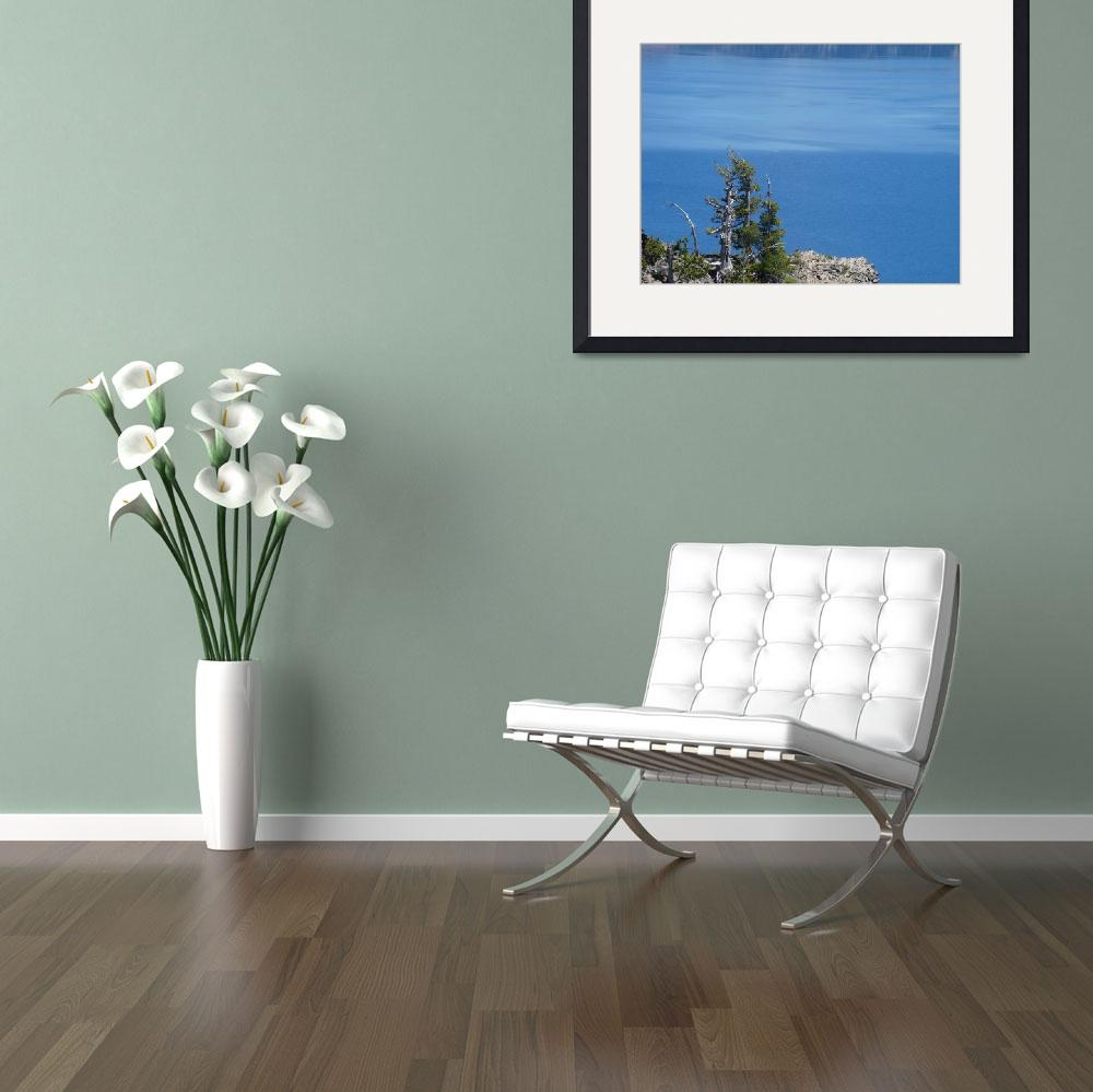 """Crater Lake Art Prints Oregon Blue Lake Water Pine&quot  (2014) by BasleeTroutman"