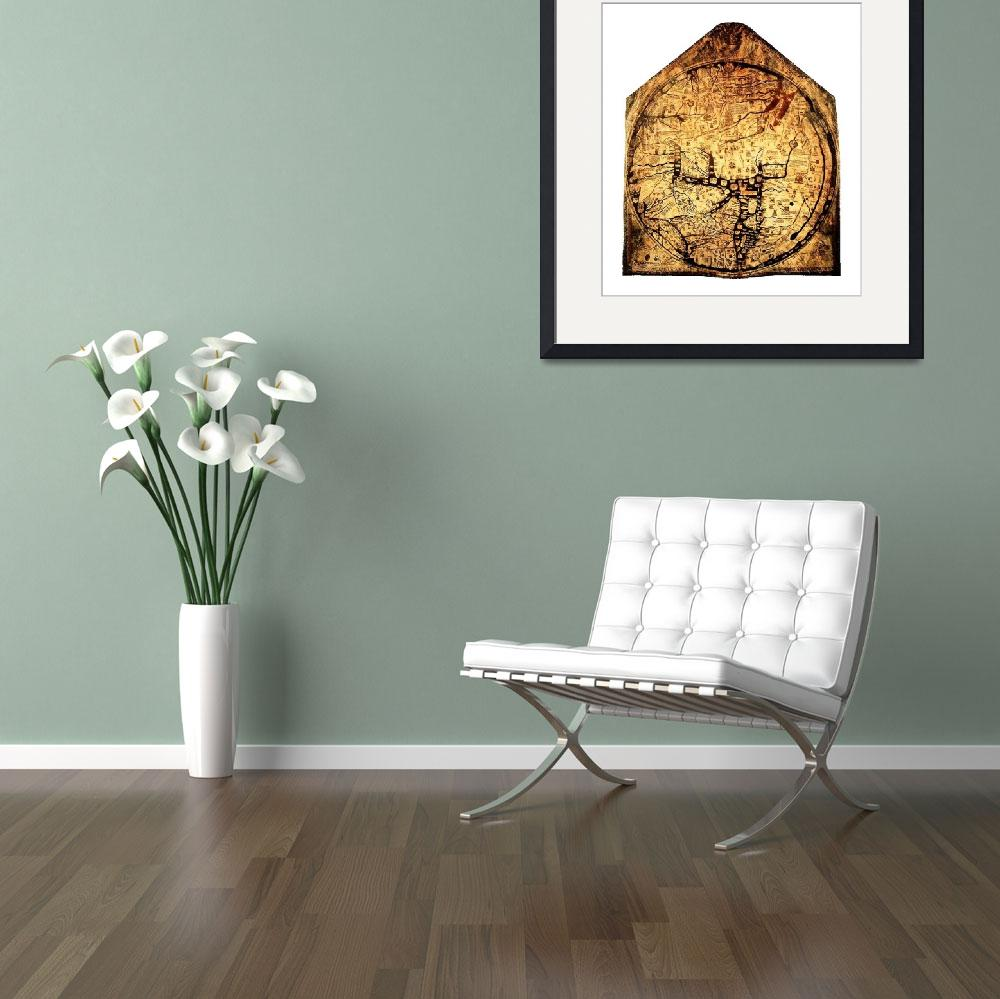 """Hereford Mappa Mundi Large White Border&quot  (2014) by TheNorthernTerritory"