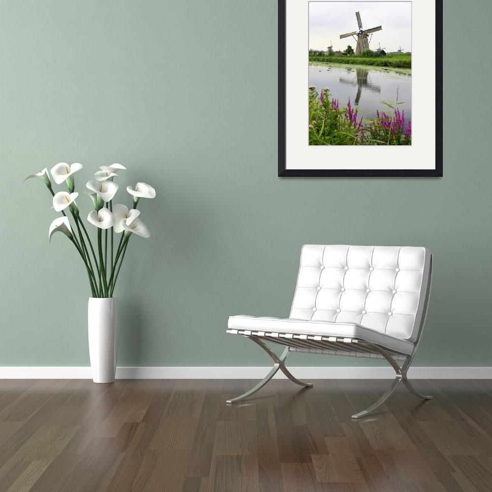 """Windmills of Kinderdijk with Flowers&quot  by Groecar"