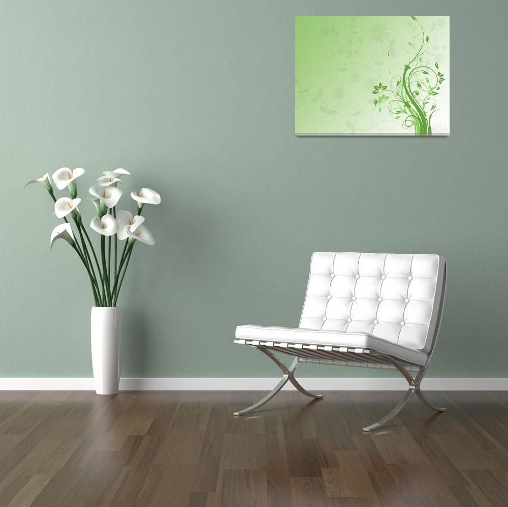 """green floral background&quot  (2009) by Dessie"