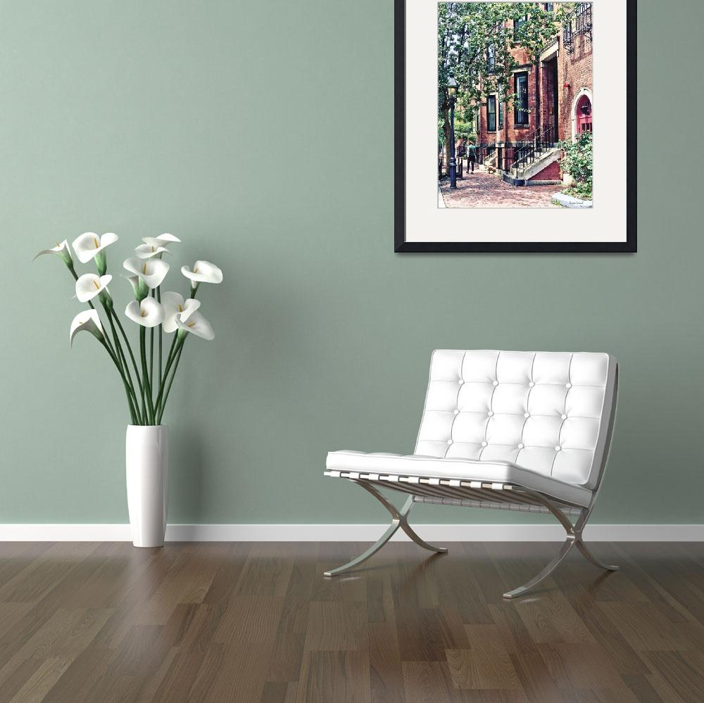 """Boston MA - Walking the Dog on Mount Vernon Street&quot  by susansartgallery"