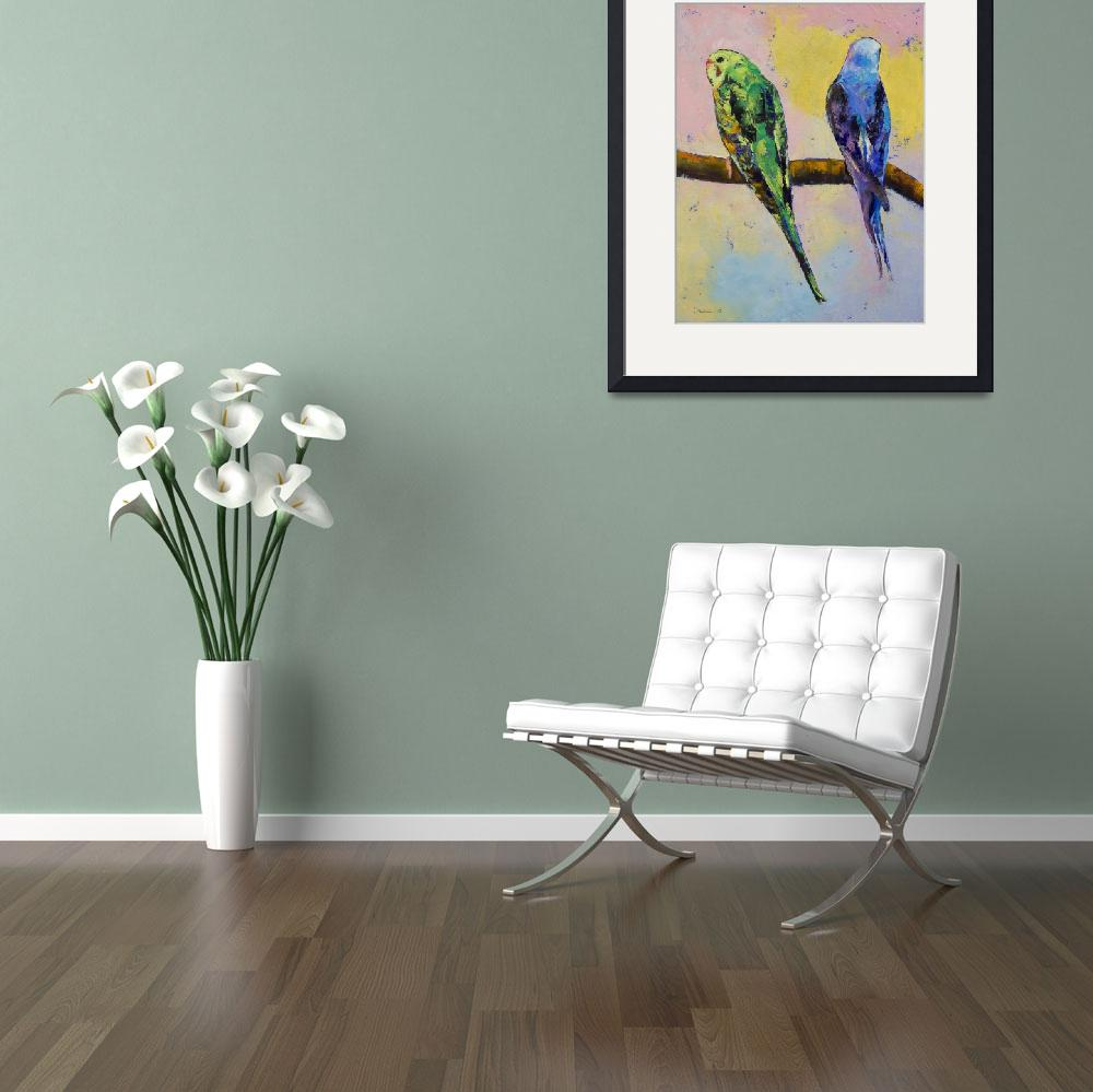 """Green and Violet Budgies&quot  by creese"