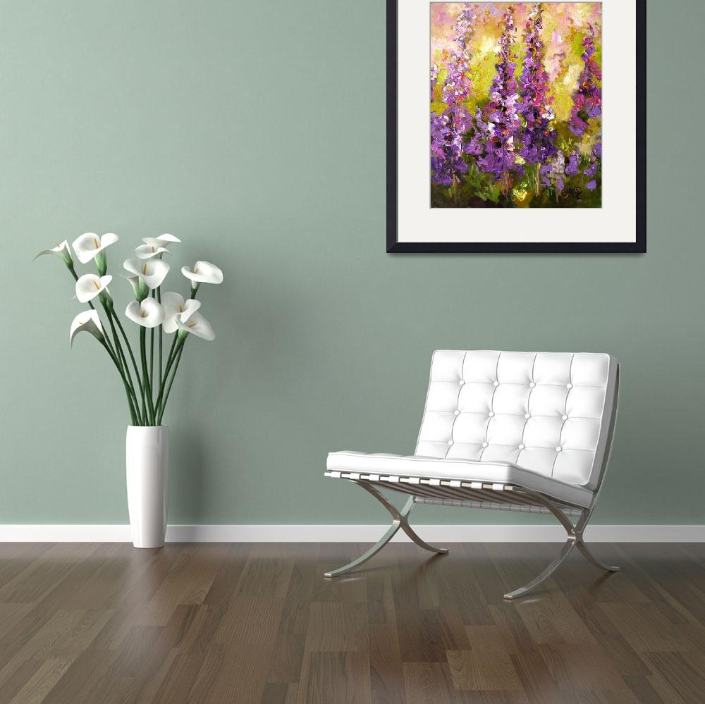 """Lupines Impressionist Flower Painting&quot  (2008) by GinetteCallaway"