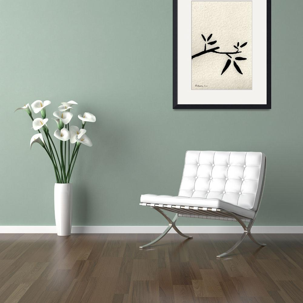 """Zen Sumi Antique Branch 2a Black Ink on Watercolor&quot  (2011) by Ricardos"