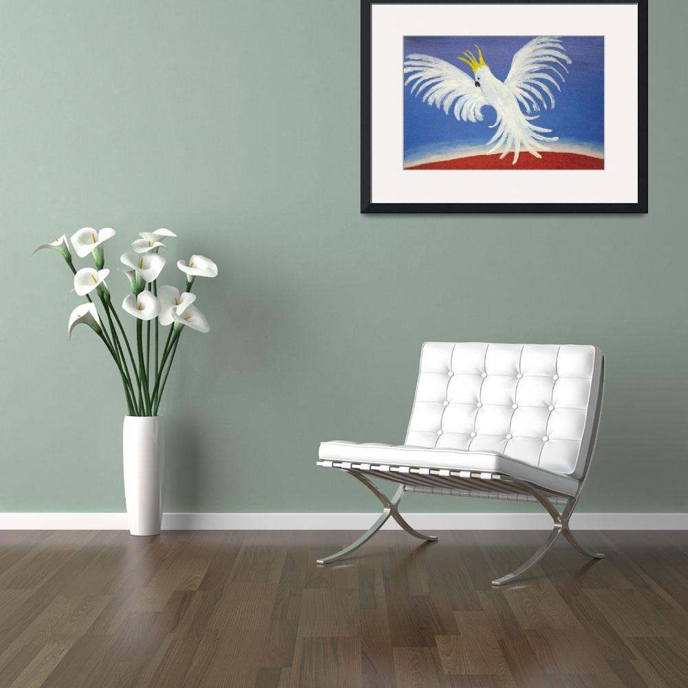 """THE DELICATE BUT DEAFENING WHITE COCKATOO (AUSTRAL&quot  by RoseLangfordPrints"