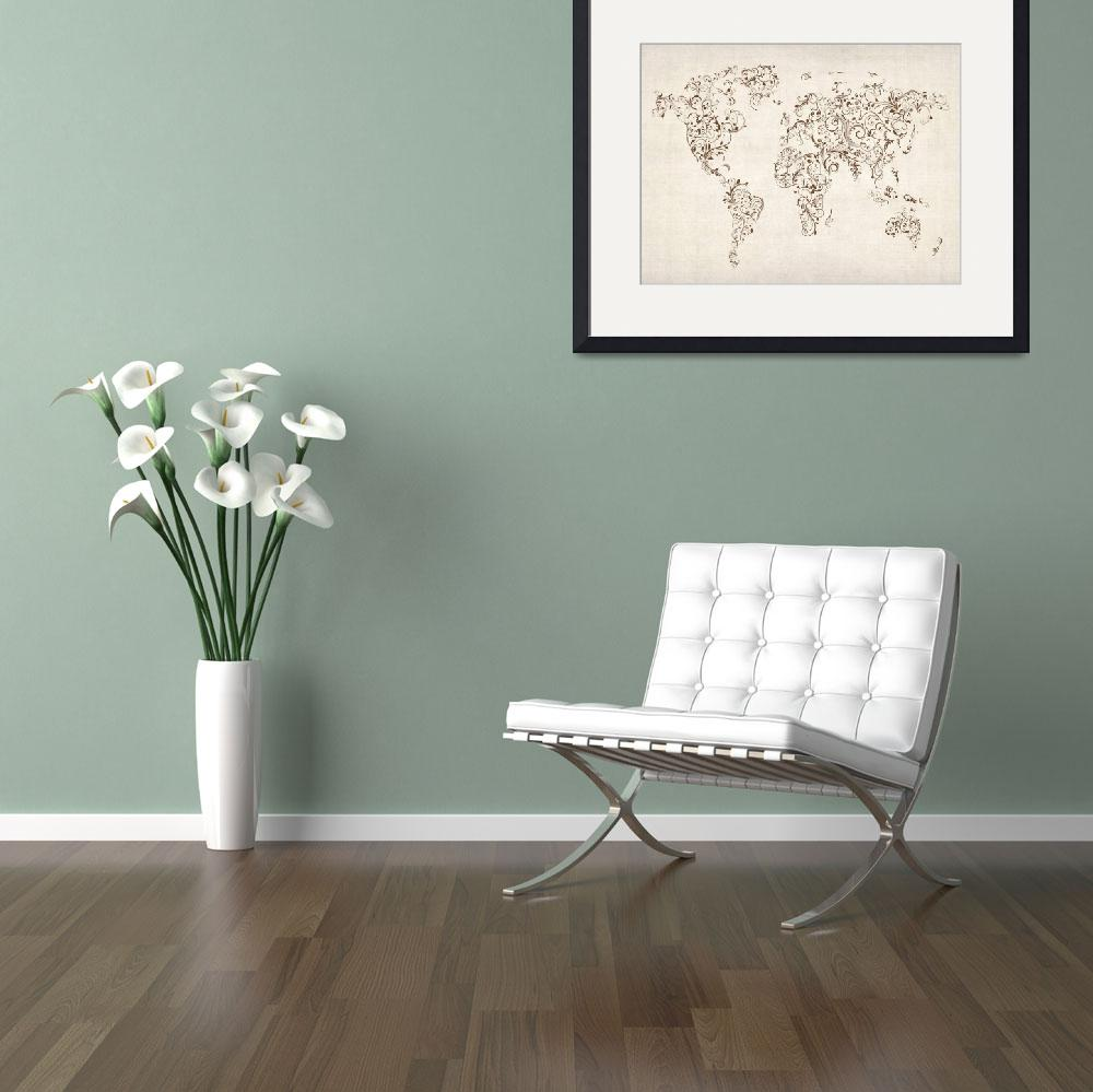 """Map of the World Map Floral Swirls&quot  (2012) by ModernArtPrints"