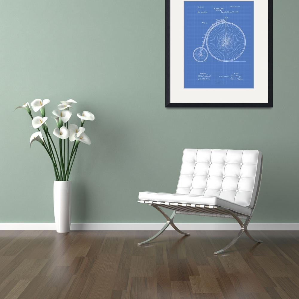 """Vintage Bicycle 1883 Patent Art - Blueprint Print&quot  (2014) by TawerArt"