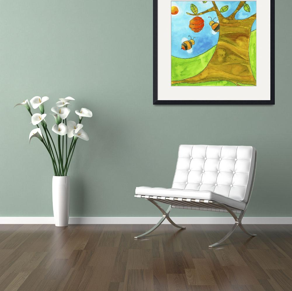 """Bees in a Tree&quot  by artlicensing"