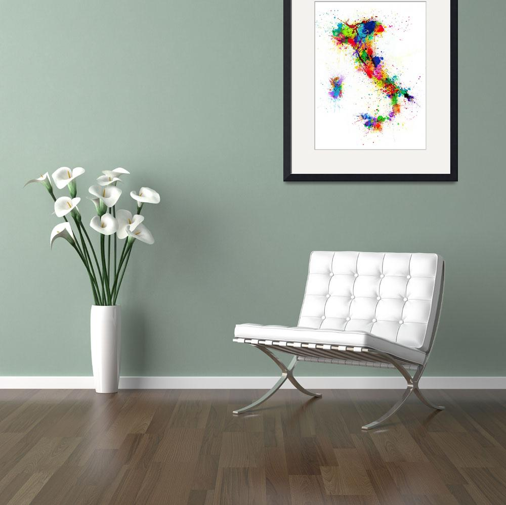 """Italy Map Paint Splashes&quot  (2013) by ModernArtPrints"