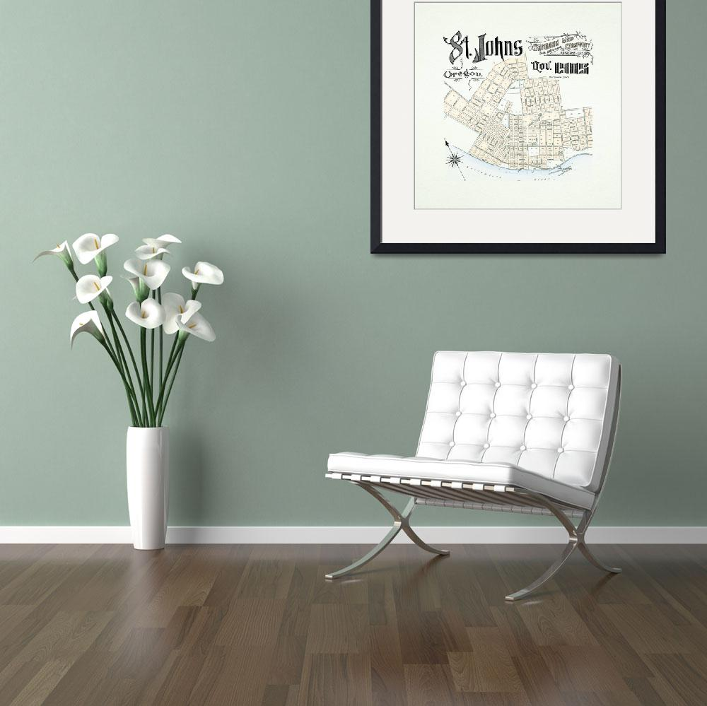 """Vintage 1905 Map of St. Johns, Oregon w/ Padding&quot  (2013) by NPDX"