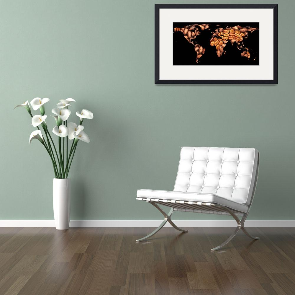 """World Map Silhouette - Pecans in a Design&quot  by Alleycatshirts"