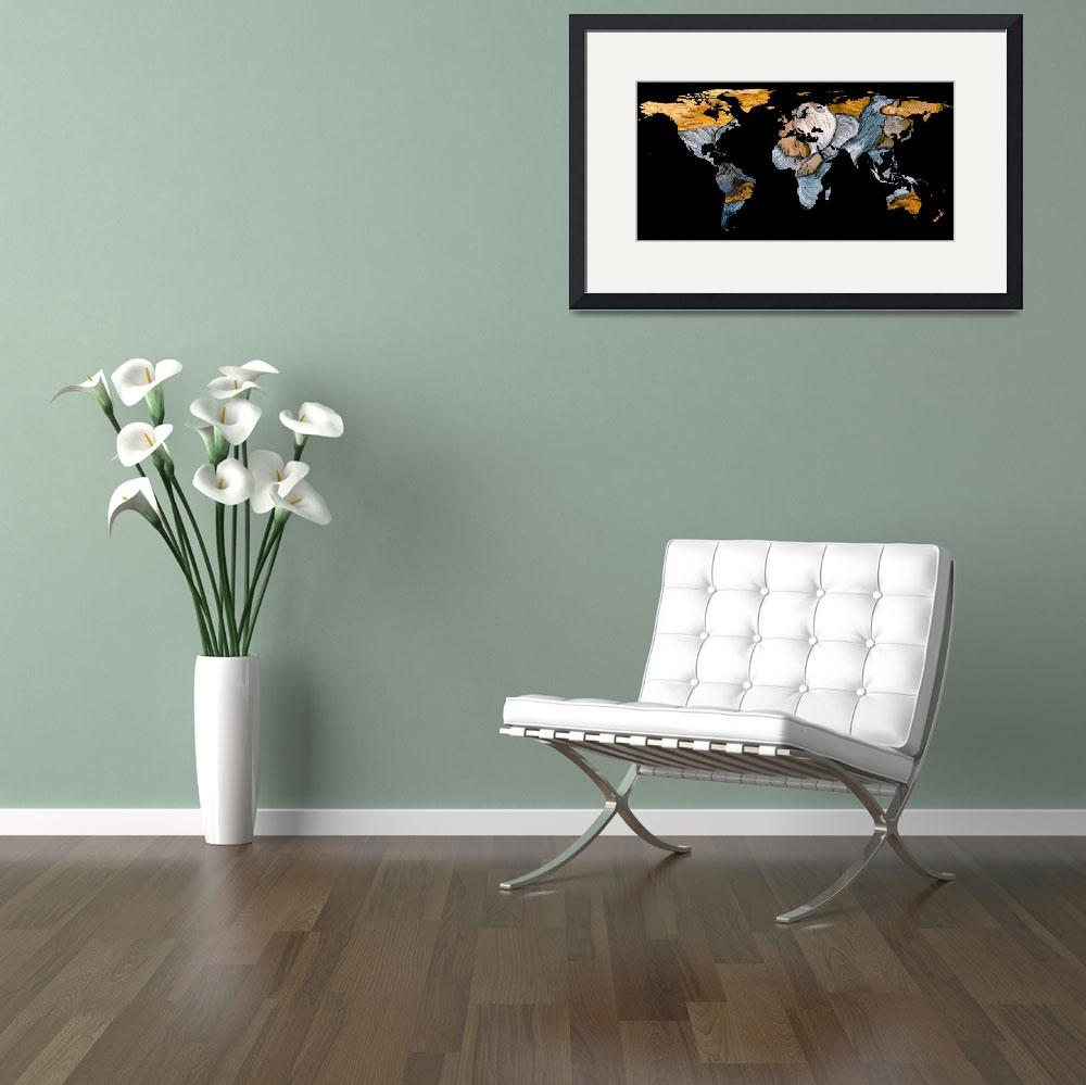 """World Map Silhouette - A Resting World&quot  by Alleycatshirts"