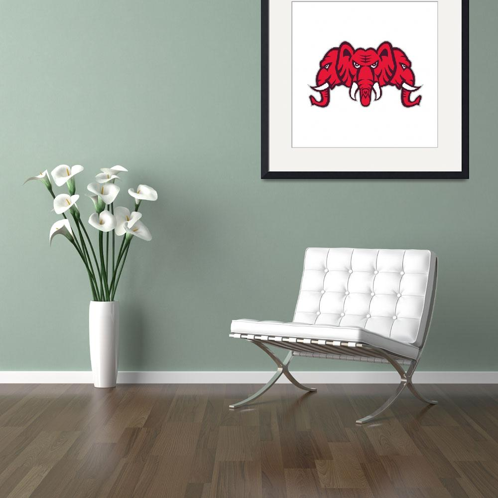 """Three Headed Elephant Retro&quot  (2016) by patrimonio"