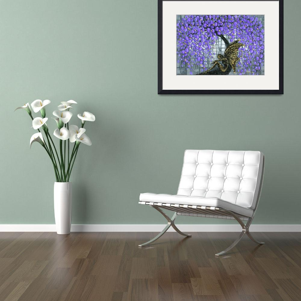 """Fairy under purple cherry blossom tree&quot  (2009) by modernhouseart"