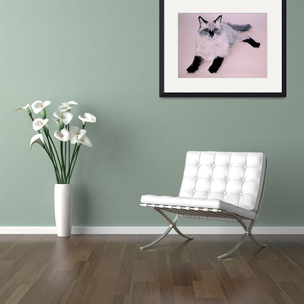 """Black Stalkings cat painting&quot  by AnimalsbyDiDi"