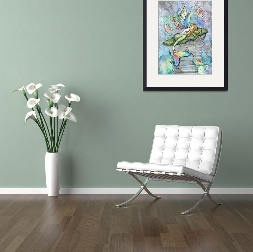 """Leaping Carp Colorful Watercolor Mermaid Art Print&quot  by robmolily"