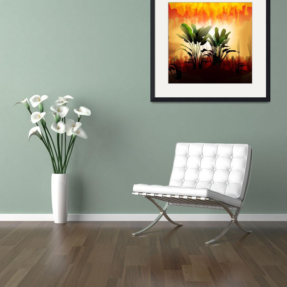 """Plant on sunset&quot  (2009) by digitalpainting"