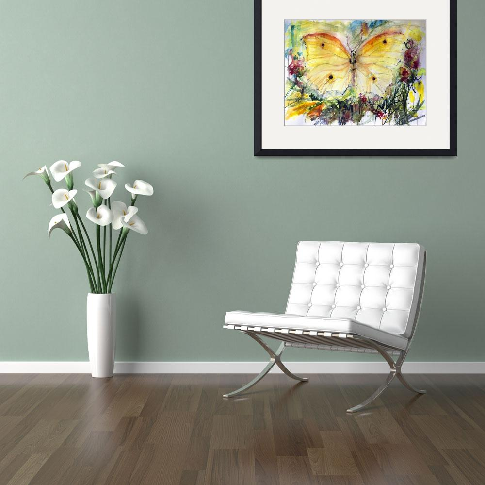 """Yellow Butterfly Watercolor Painting&quot  (2014) by GinetteCallaway"