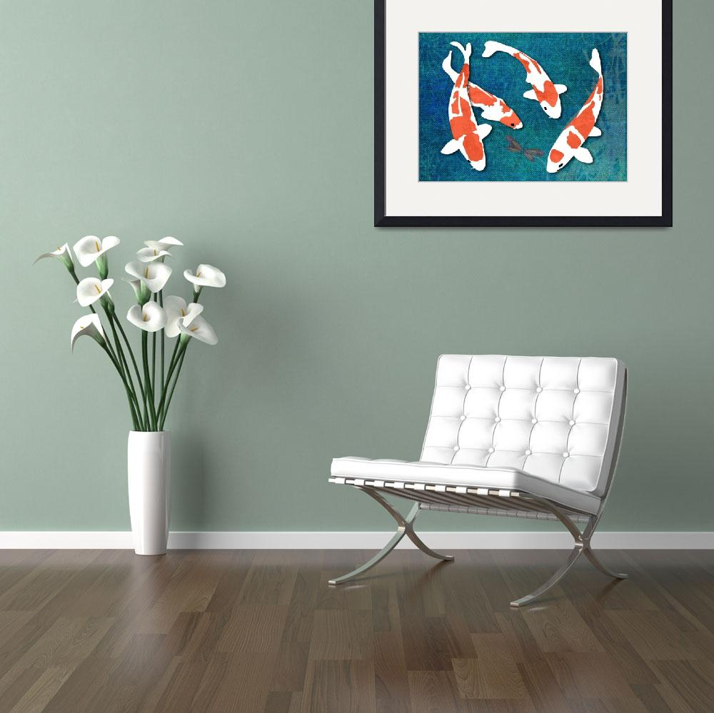"""Kohaku Koi on Textured Background with Dragonfly&quot  by ElainePlesser"