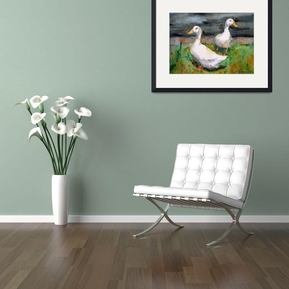 Fine watercolor art for sale -  Ozzie And Harriet White Duck Watercolor Painting 2006 By Schulmanart
