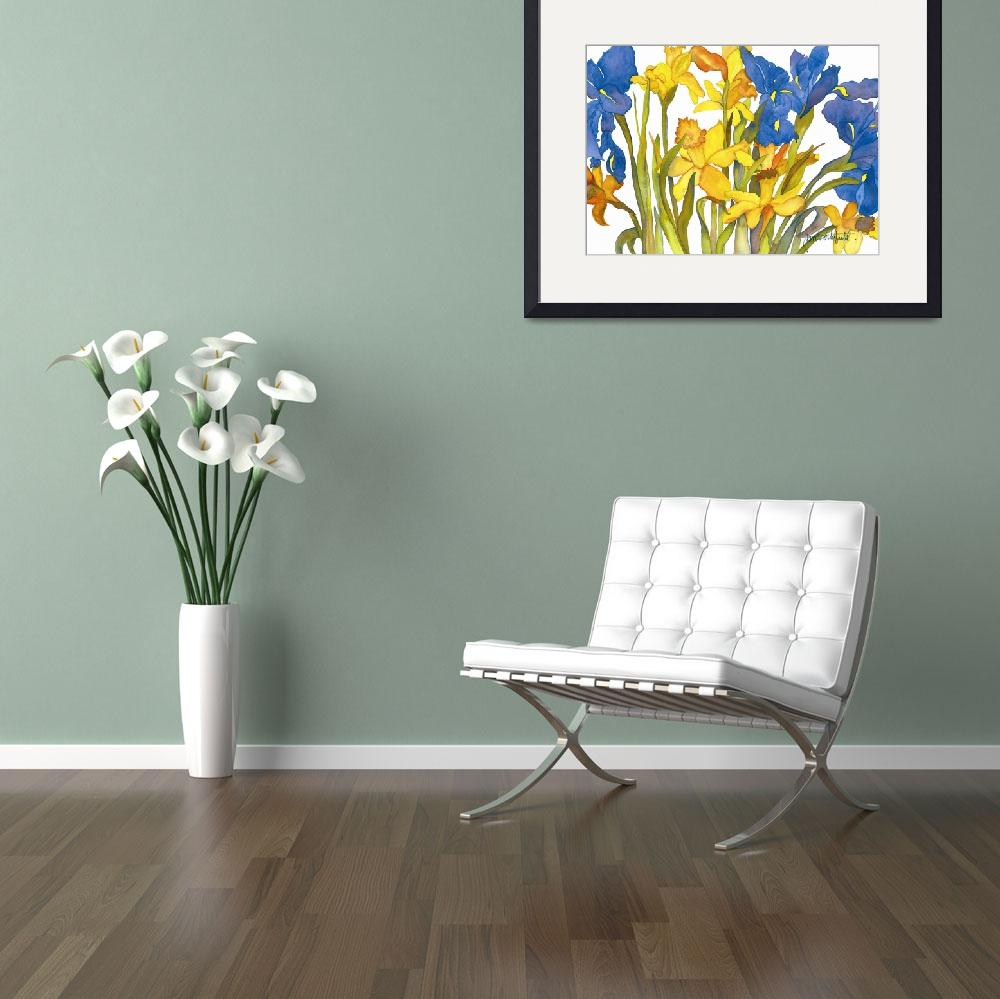 """Daffodils and Iris&quot  (2005) by janporterfieldwatercolors"