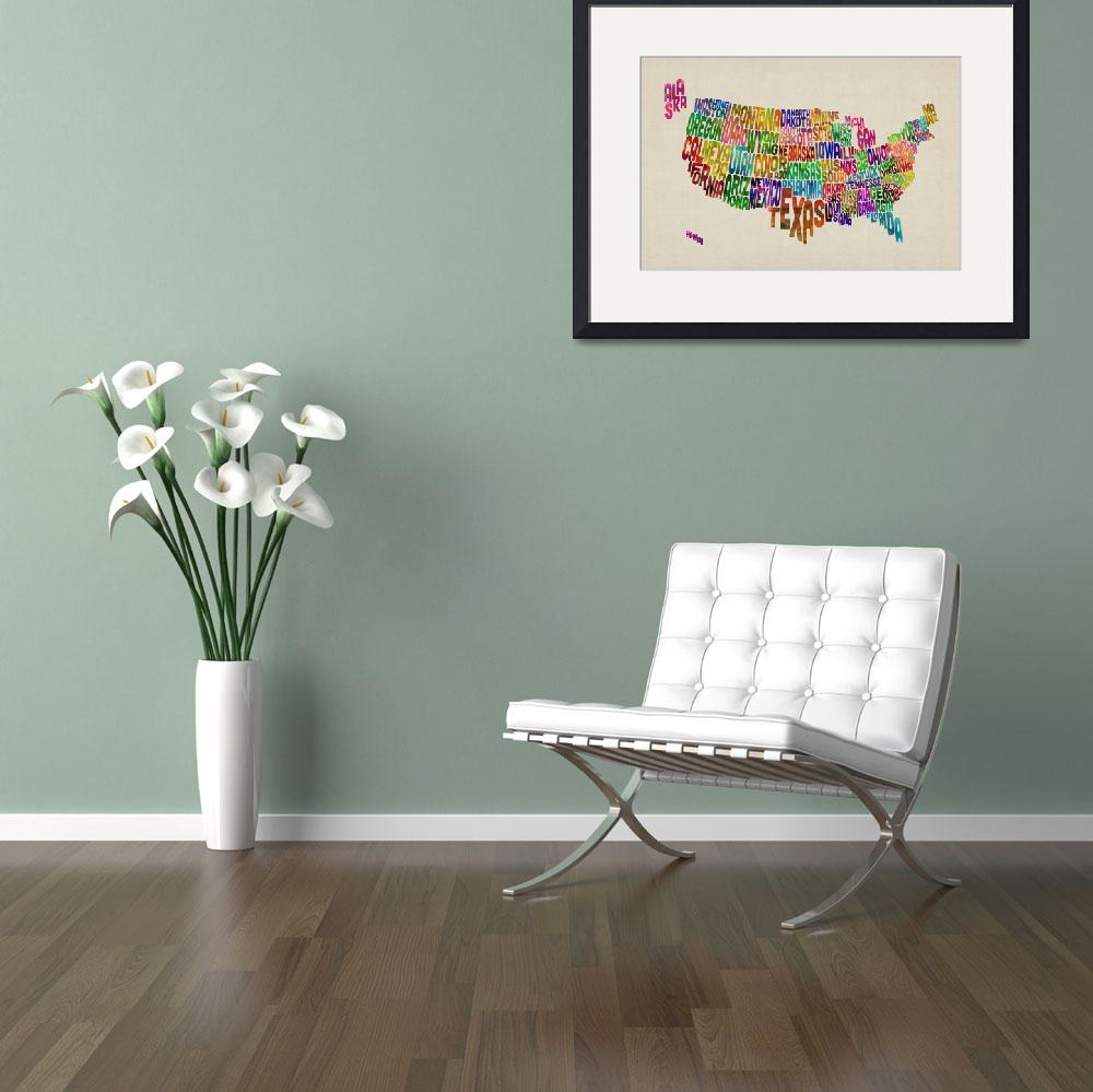 """United States Typography Text Map&quot  by ModernArtPrints"