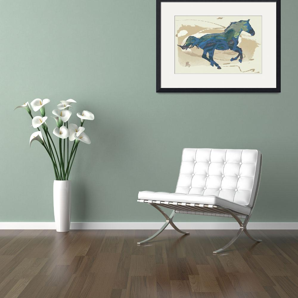 """Horse racing stylised painting art poster&quot  (2014) by visualharbour"