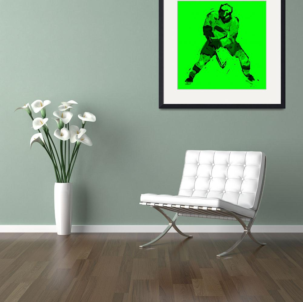 """Hockey Defenseman green (c)&quot  (2014) by edmarion"