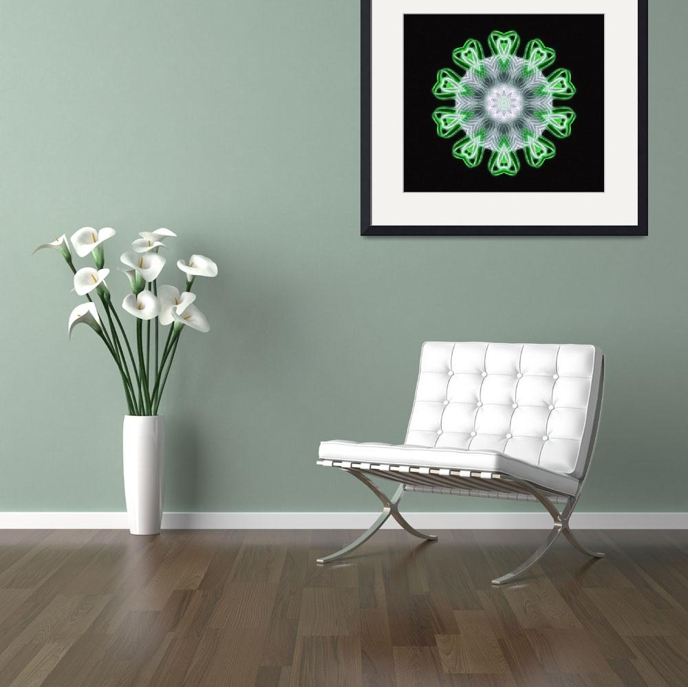 """Twisted 1 Green Kaleidoscope Art 1&quot  (2009) by ChristopherInMexico"