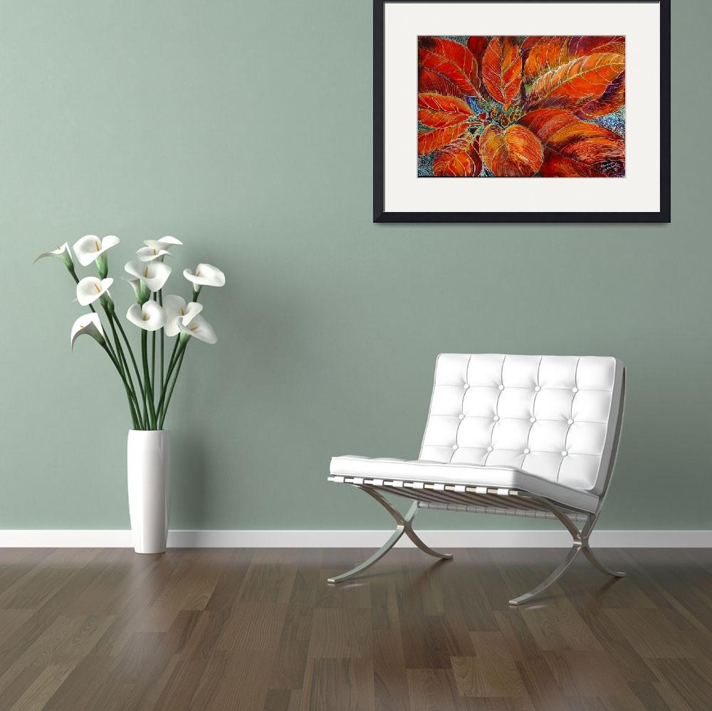 """POINSETTIA BATIK&quot  by MBaldwinFineArt2006"