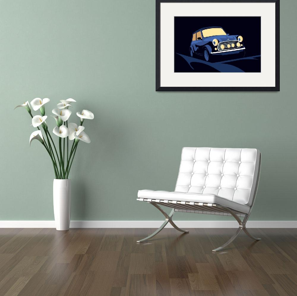 """Mini Cooper in Blue&quot  (2010) by ModernArtPrints"
