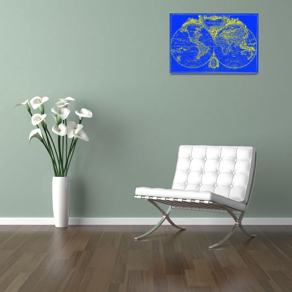 """World Map (1775) Blue & Yellow&quot  by Alleycatshirts"